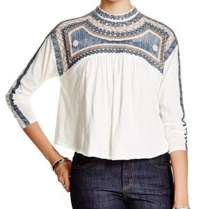 Free People Long Sleeve Embroidered Top
